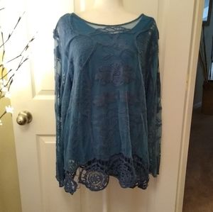 BLAIR teal embroidered cotton tunic blouse. 3X